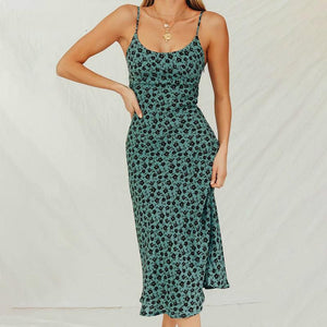 Women Midi Sundress Floral Print Backless Long Dress