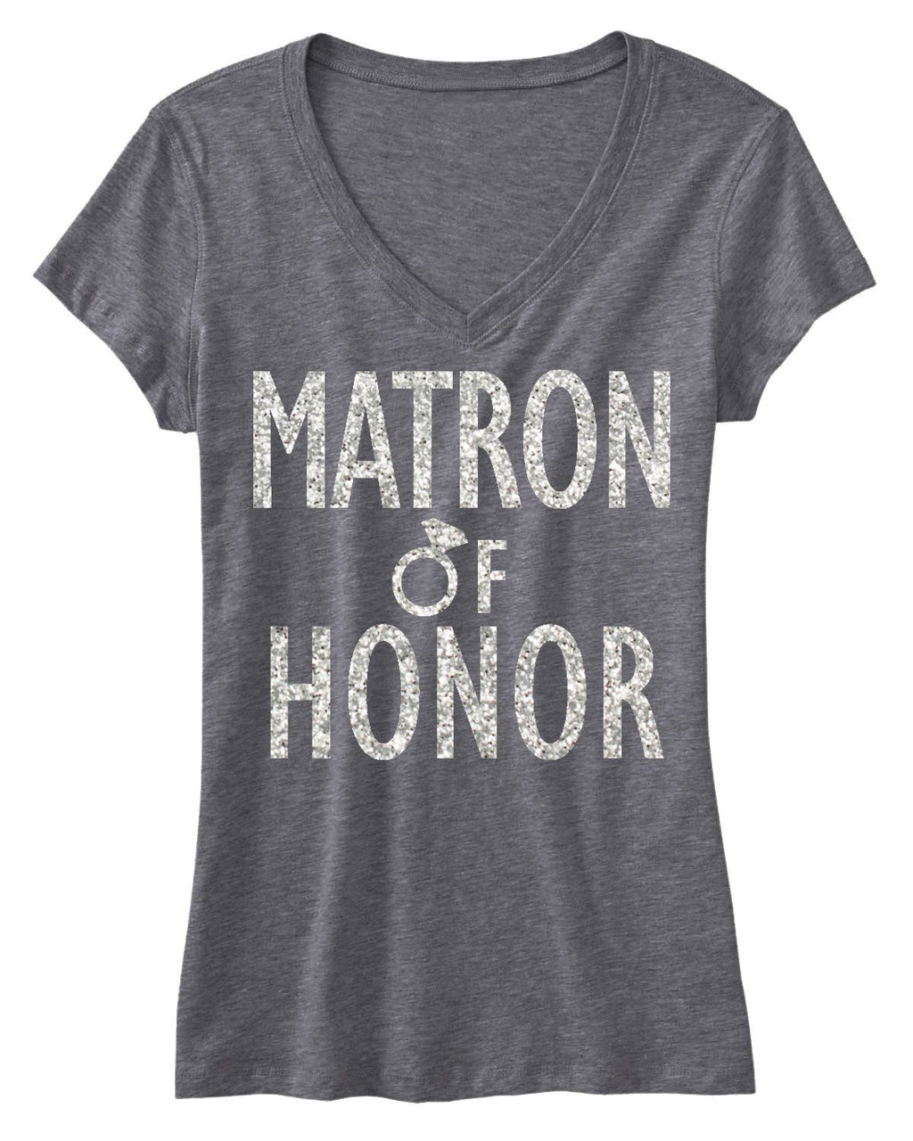 MATRON of HONOR GLITTER Bridal Shirt V-neck. Includes shipping - Expressions2u