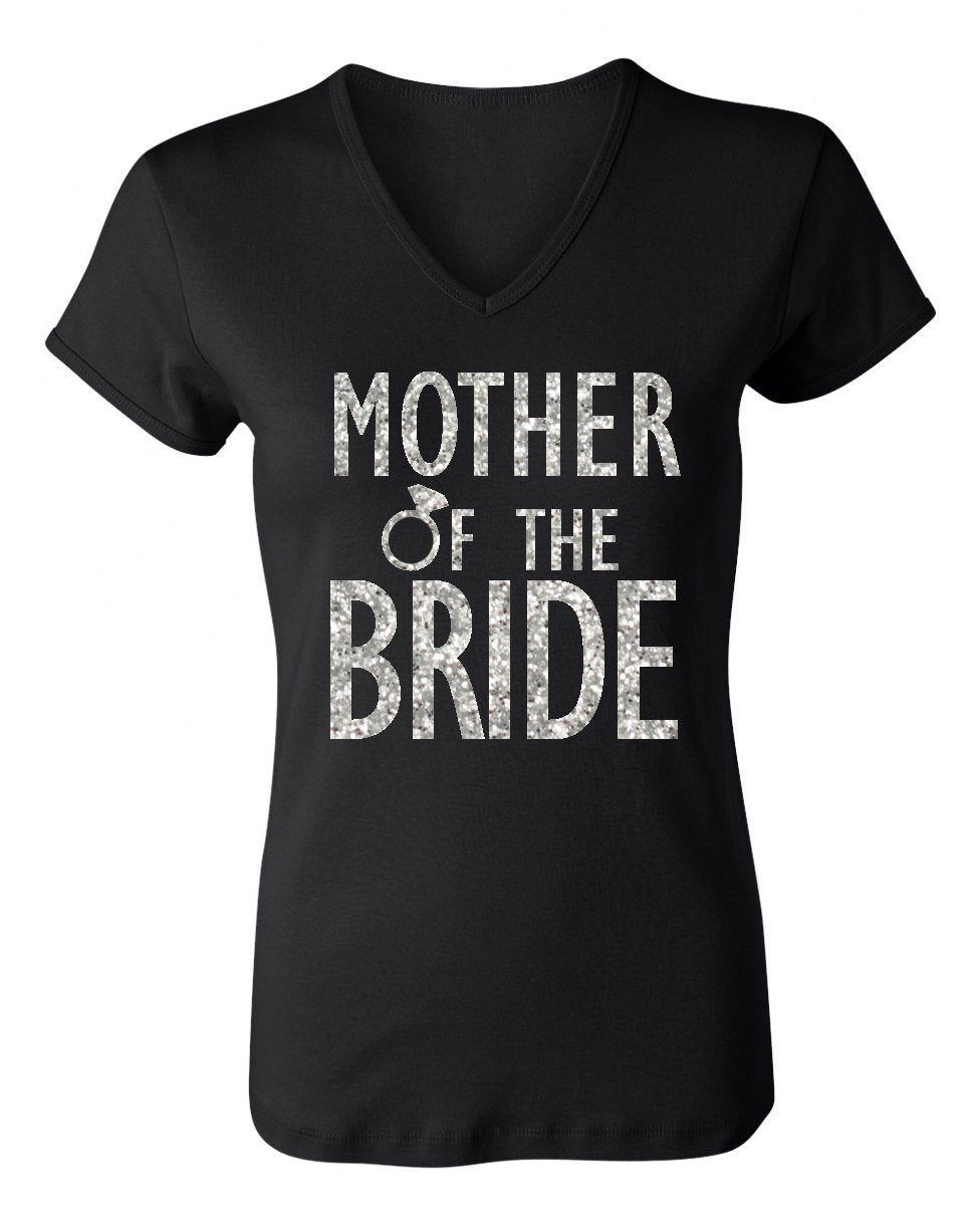 MOTHER of the BRIDE GLITTER Shirt Black V-neck. Includes shipping - Expressions2u