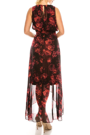 Shelby & Palmer Red Black Floral Printed High Low Dress