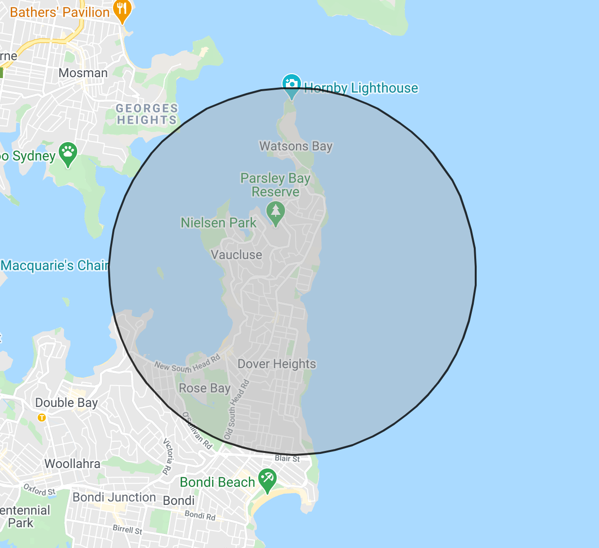3km Radius Complimentary Delivery from Vaucluse