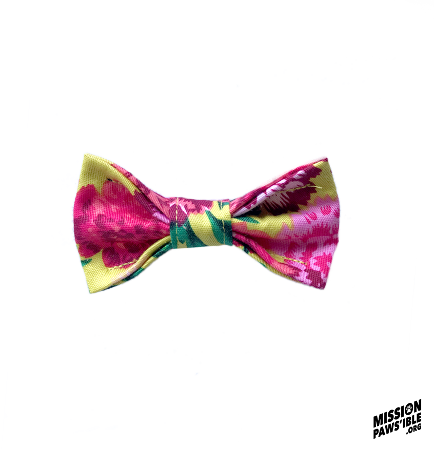 Flower Power Yellow Bow Tie