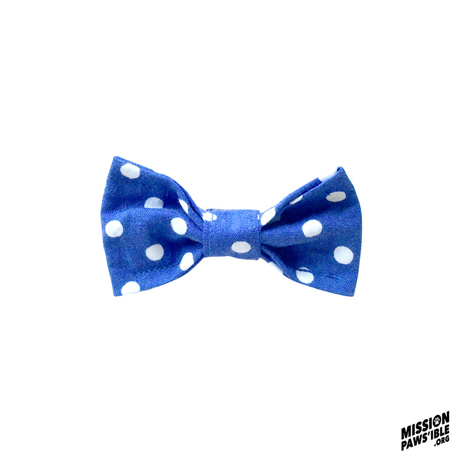 Polka Face Blue Mini Bow Tie