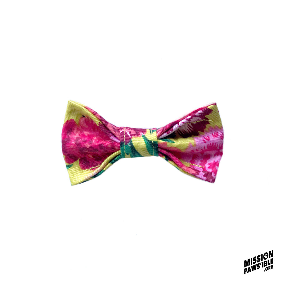 Flower Power Yellow Mini Bow Tie