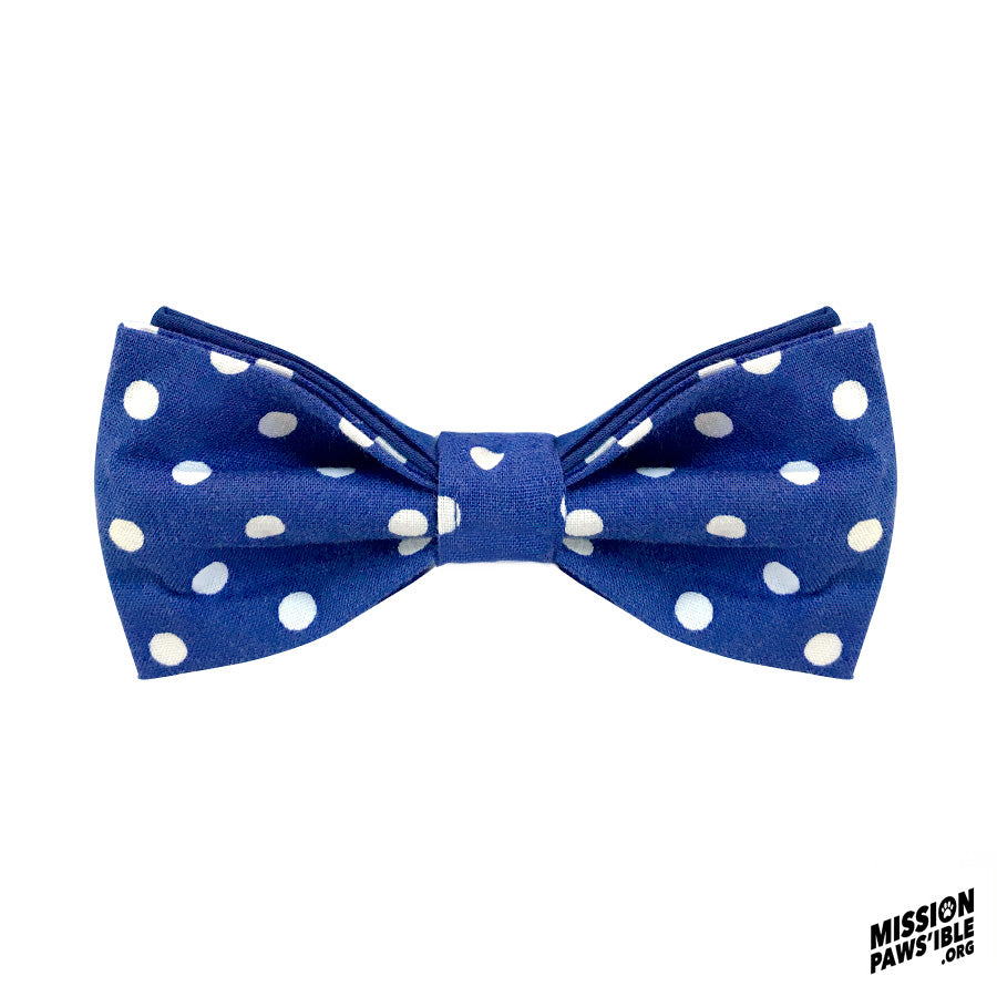 Polka Face Blue Bow Tie