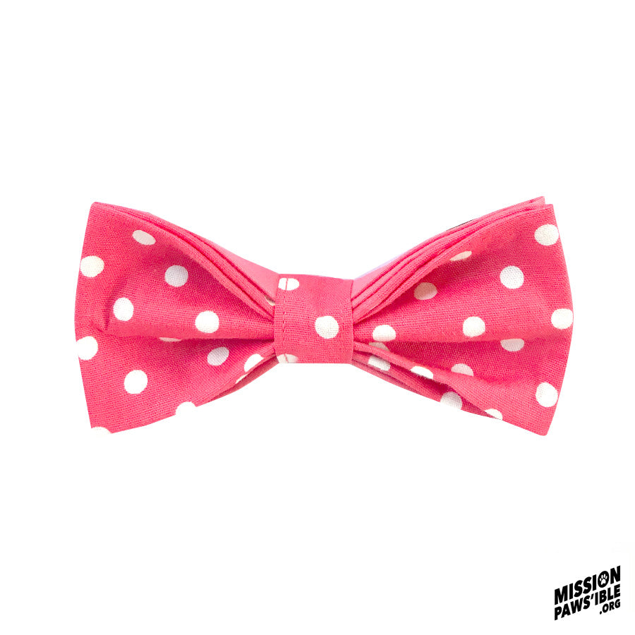 Polka Face Coral Bow Tie