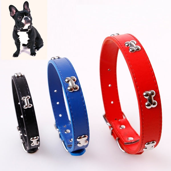 Pet Bone Leather Collar