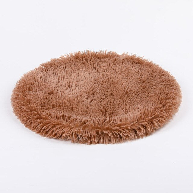 Long Plush Pet Dog Cat Mats Round Dog Cat Bed Fluffy Blanket for Dog Cat Deep Sleeping Soft Cover for Dog Cat Solid Cat Mattress