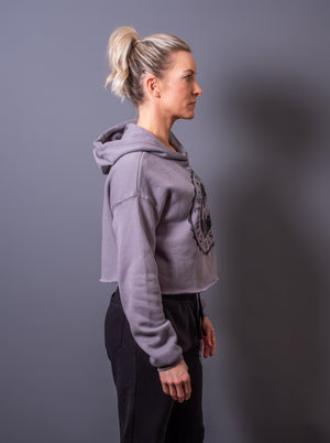 Grey Cropped Fleece Hoodie