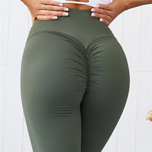 Load image into Gallery viewer, CQFitness Scrunch Luxury Gym Leggings Army Green