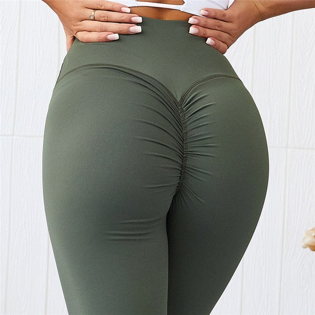 CQFitness Scrunch Luxury Gym Leggings Army Green