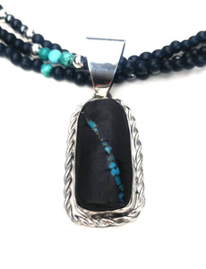Kingman turquoise inlaid bass clarinet wood necklace
