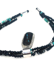 Load image into Gallery viewer, Kingman turquoise inlaid bass clarinet wood necklace