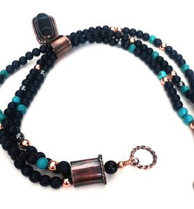 Copper inlaid bass clarinet wood necklace