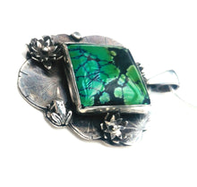 Load image into Gallery viewer, Waterlily and vintage turquoise pendant