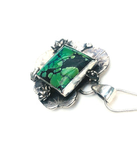 Waterlily and vintage turquoise pendant