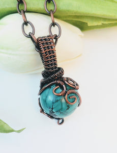 Turquoise orb necklace