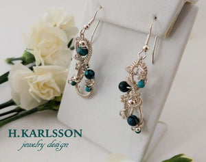 Turquoise Queen woven wire earrings