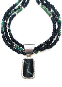 New Mexico Variscite inlaid bass clarinet wood necklace