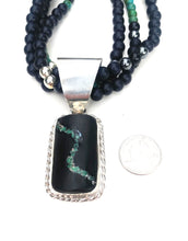 Load image into Gallery viewer, New Mexico Variscite inlaid bass clarinet wood necklace