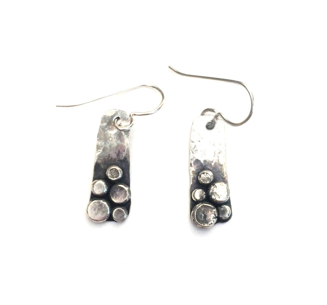 Silver boulder earrings