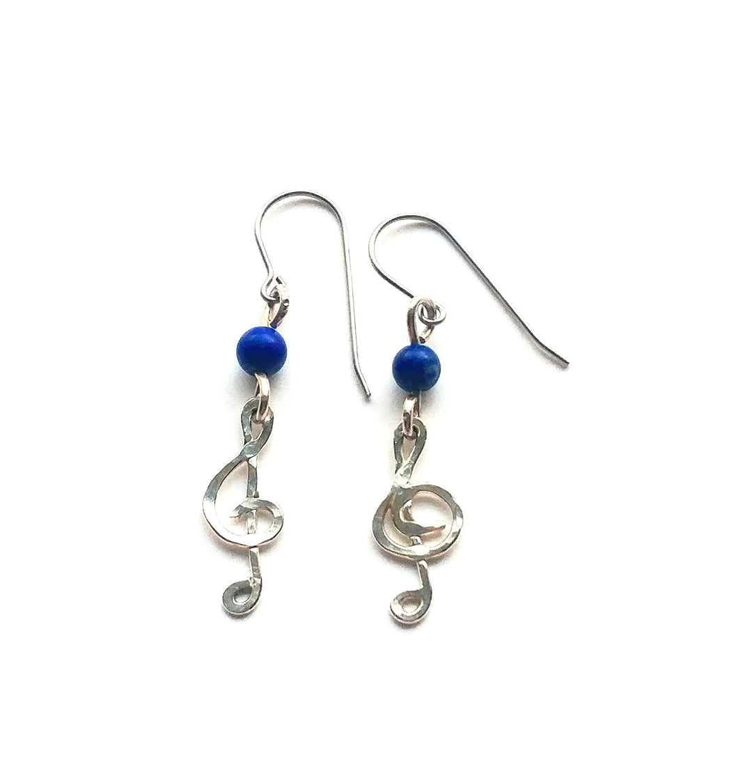 Lapis lazuli sterling silver treble clef earrings
