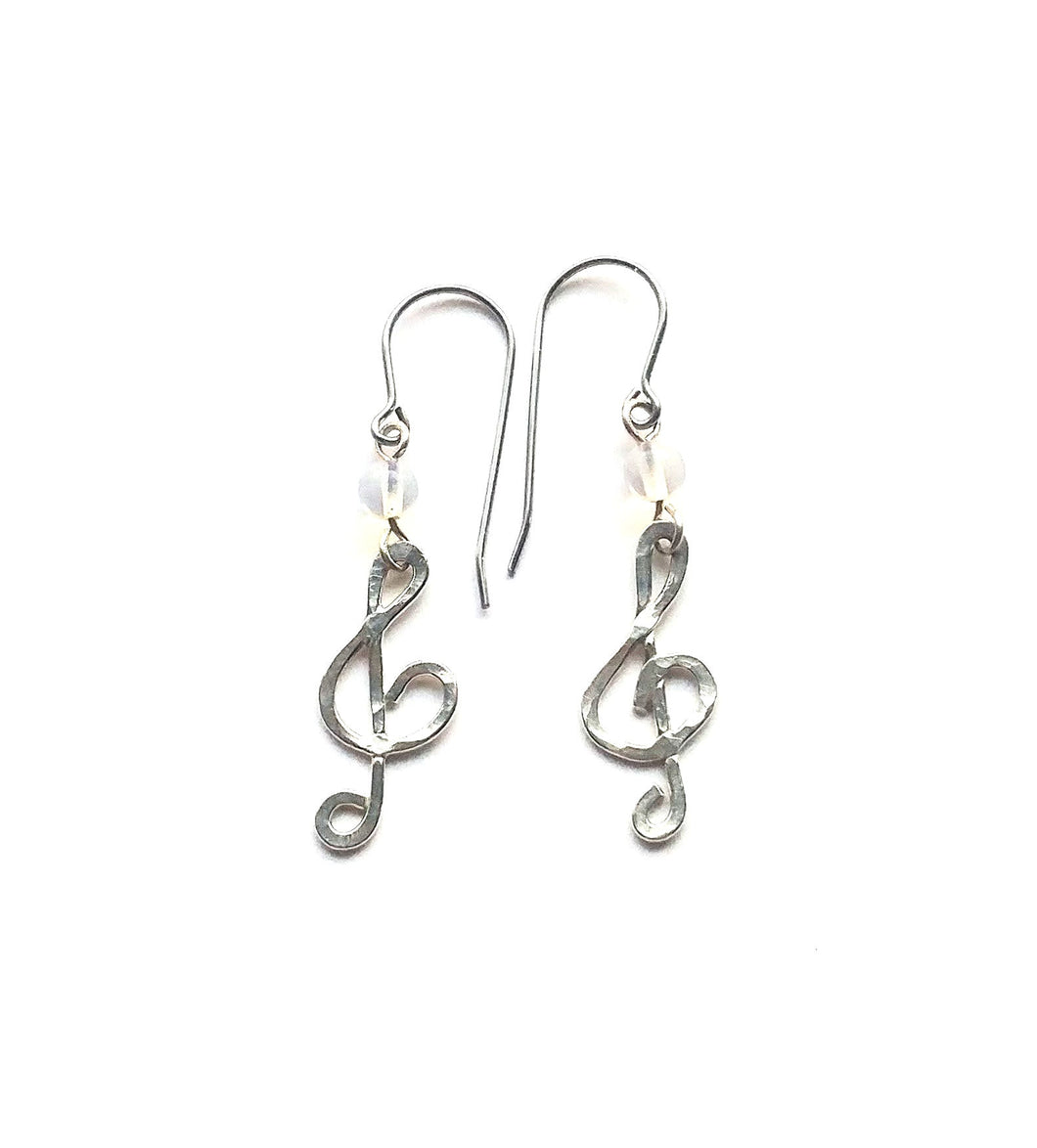 Opalite and sterling silver treble clef earrings