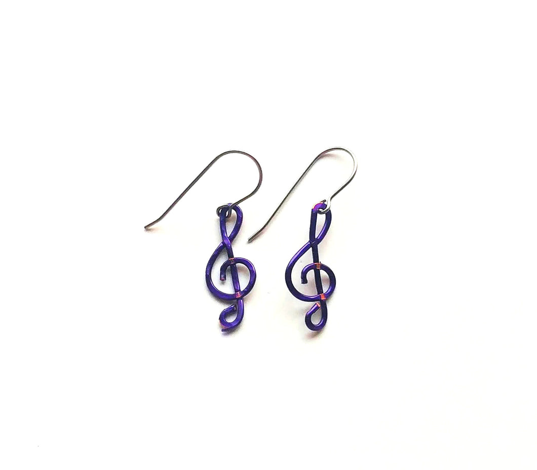 Purple treble clef earrings