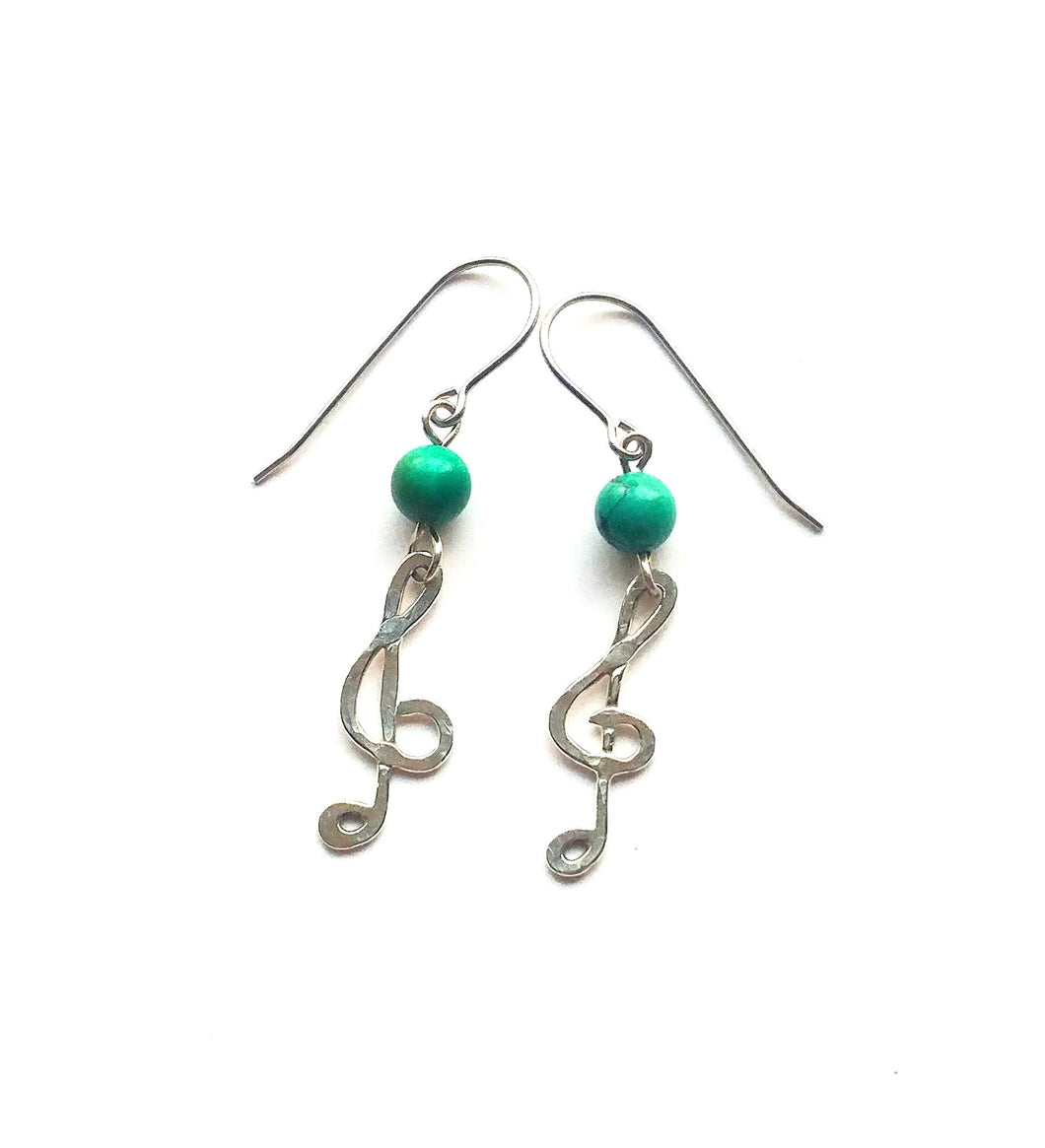 Turquoise and sterling silver treble clef earrings