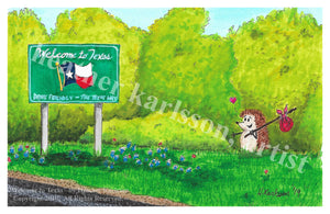 """Welcome to Texas"" art print"