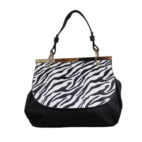 """NECILA"" ZEBRA STRIPED SATCHEL by lithyc"