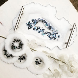 Geode Decorative Tray and Coaster Set *MADE TO ORDER*