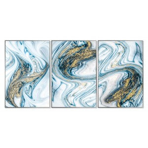 Set of 3 Aqua Marble Framed Acrylic Pictures
