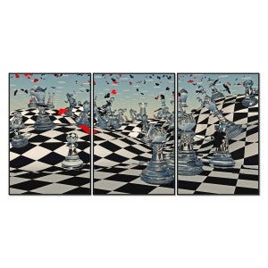 Set of 3 Chess Sensation Framed Acrylic Pictures