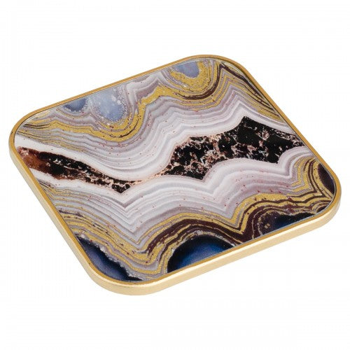 Square Oyster Design Coasters - Set of 4