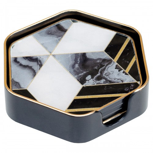 Hexagonal Diamond Design Coasters - Set of 4