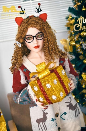 150cm European face small breasts Christmas brown curly hair sex doll Camille - lovedollshops.com