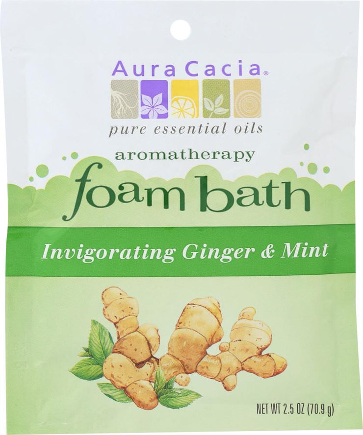 AURA CACIA: Foam Bath Invigorating Ginger & Mint, 2.5 oz