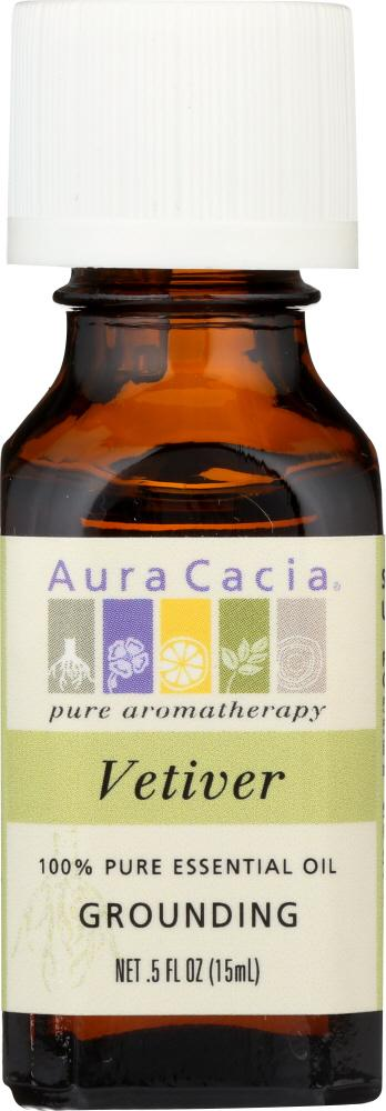 AURA CACIA: 100% Pure Essential Oil Vetiver, 0.5 Oz