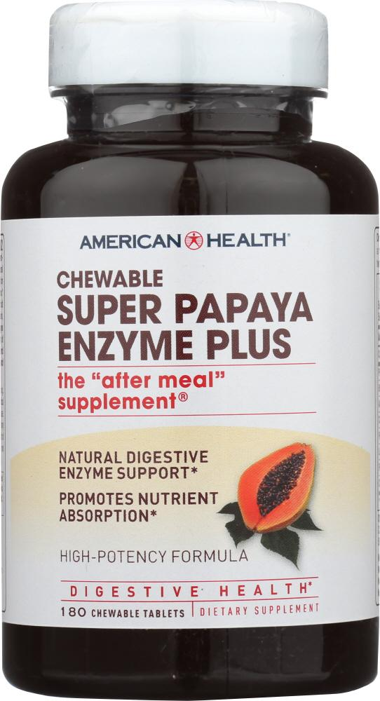 AMERICAN HEALTH: Super Papaya Enzyme Plus Chewable, 180 Tablets