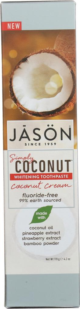 JASON: Toothpaste Simply Coconut Whitening Cream, 4.2 oz