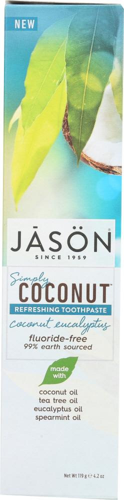 JASON: Toothpaste Simply Coconut Refreshing Fluoride-Free, 4.2 oz
