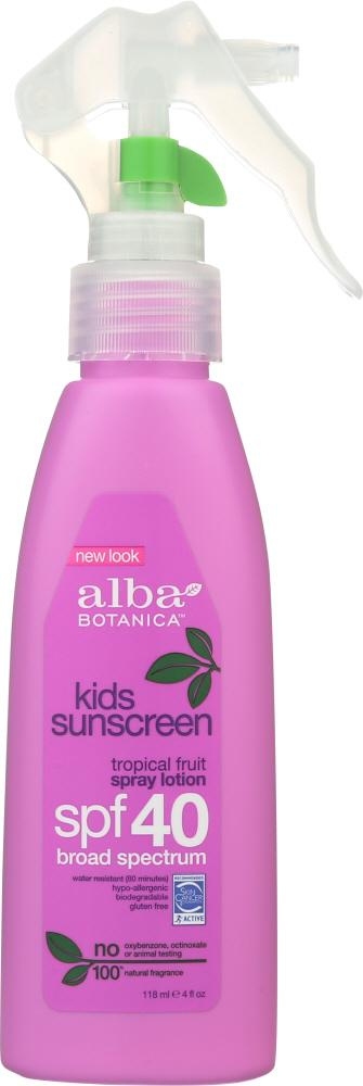 ALBA BOTANICA: Very Emollient Sunscreen Kids Spray SPF 40, 4 oz