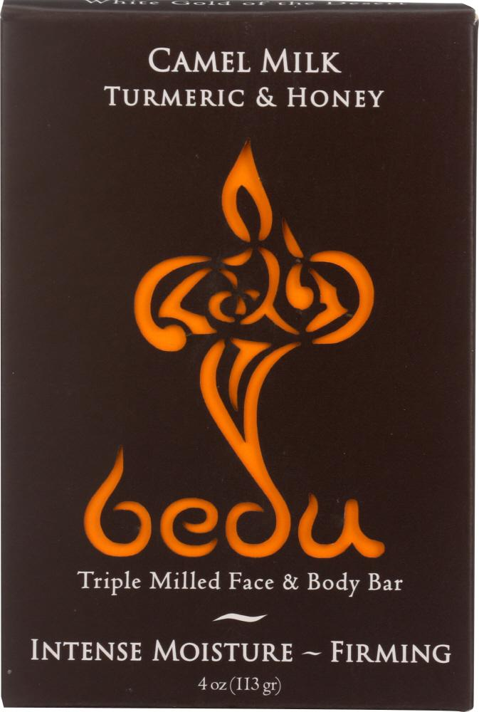 BEDU: Turmeric and Honey Camel Milk Soap Bar, 4 oz