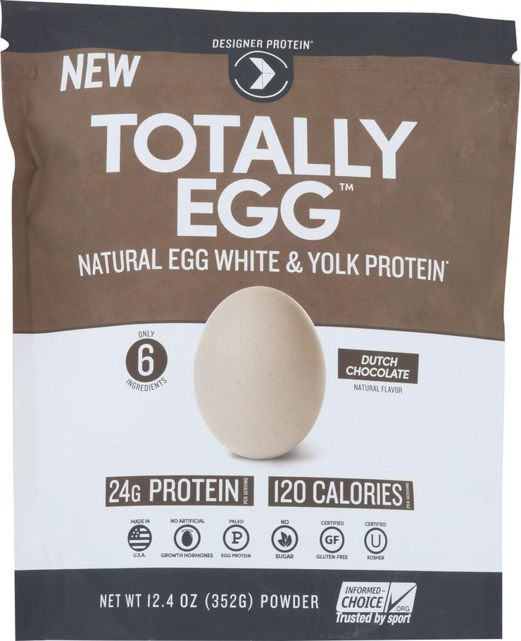 DESIGNER PROTEIN WHEY: Totally Egg Protein Powder Dutch Chocolate, 12.4 oz