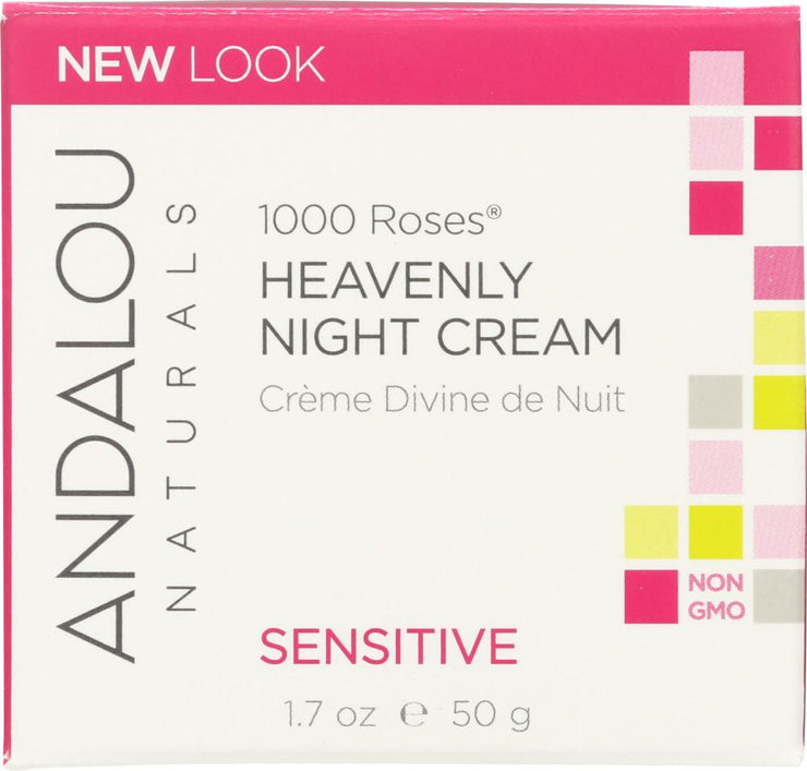 ANDALOU NATURALS: 1000 Roses Heavenly Night Cream Sensitive, 1.7 oz