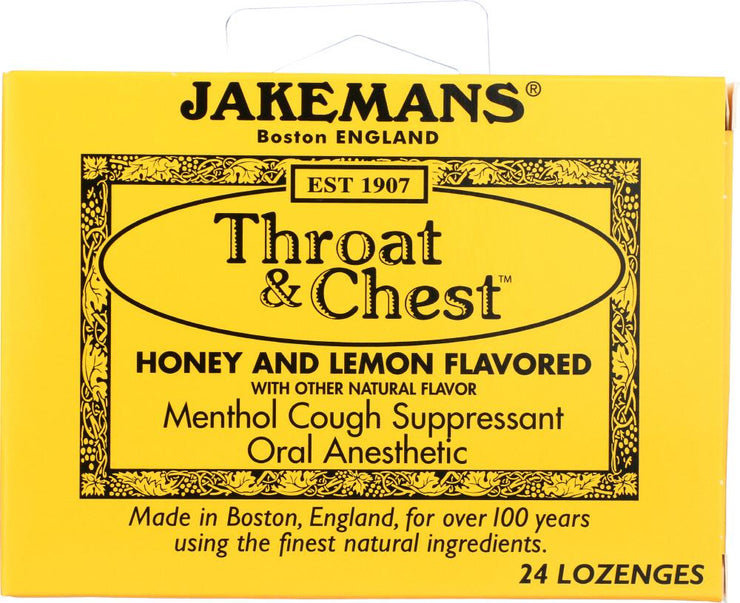 JAKEMANS: Lozenge Throat and Chest Honey and Lemon, 24 pc