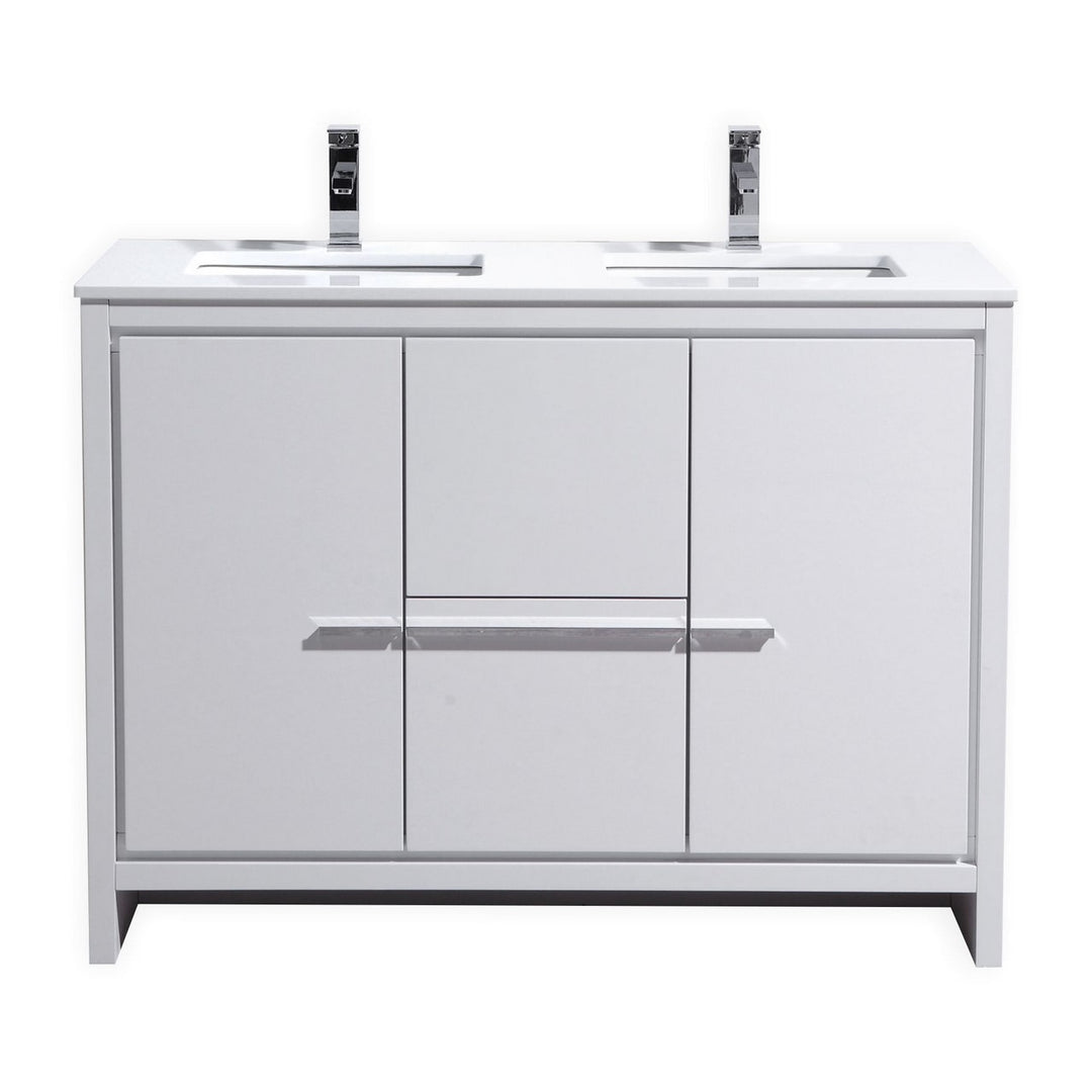 dolce 48 double sink modern bathroom vanity with quartz counter top