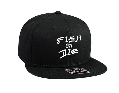 Fish Or Die Snapback Hat Black