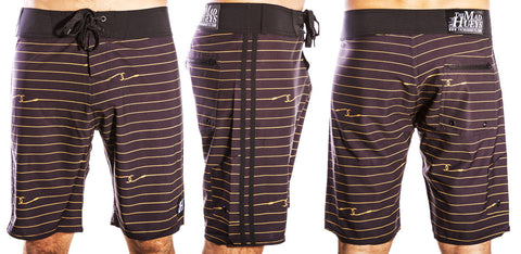 Hook Lines Boardshort Black Gold